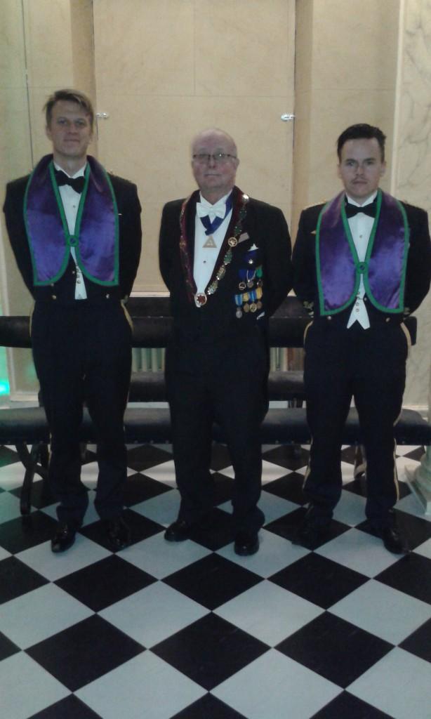 Fr.v. Adam Lewis-Olsson, Lennart Lilja och Mattias Hansson, fadder